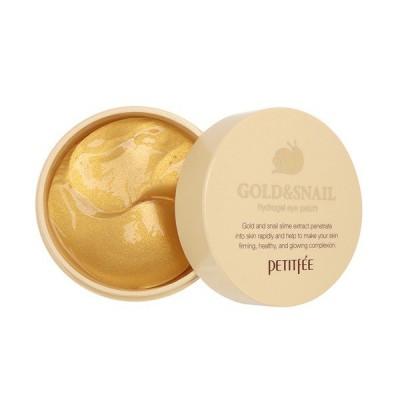 Гидро-гелевые патчи для век Petitfee Hydro Gel Eye Patch Gold & Snail с муцином улитки и коллоидным золотом