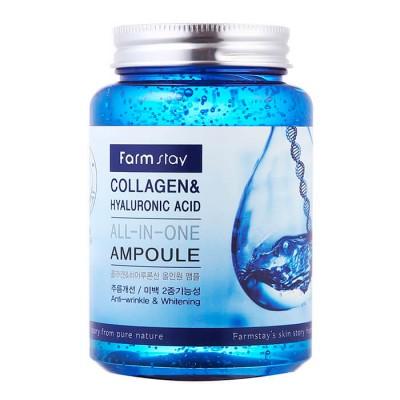 Многофункциональная сыворотка с гиалуроновой кислотой и коллагеном FarmStay Collagen&Hyaluronic Acid all-in-one Ampoule